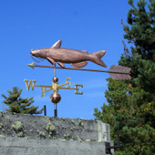 large catfish weathervane with arrow on left side view with blue sky background