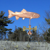 Trout Weathervane right angle  view on blue sky background