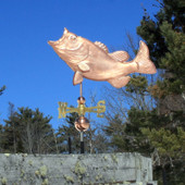 Large Jumping Largemouth/ Black Bass Weathervane Left Side View on Blue Sky Background