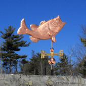 Large Jumping Black Bass Weathervane Right Side View on Blue Sky Background