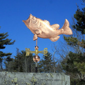 Largemouth Bass Weathervane Left Side View on Blue Sky Background