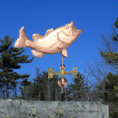 Large Jumping Largemouth Bass Weathervane Right Side View on Blue Sky Background