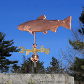 Brook Trout Weathervane left angle view on blue sky background