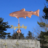Brook Trout Weathervane left side view on blue sky background