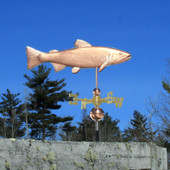 Brook Trout Weathervane right side view on blue sky background
