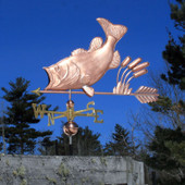 Largemouth Bass with Cattails Weathervane left side view on blue sky background
