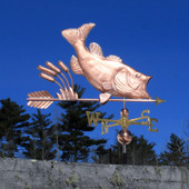 Largemouth Bass with Cattails Weathervane right side view on blue sky background
