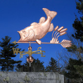 Largemouth Bass with Cattails Weathervane left angle view on blue sky background
