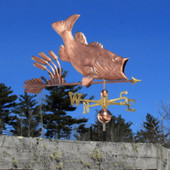 Largemouth Bass with Cattails Weathervane right angle view on blue sky background