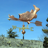 Largemouth Bass Weathervane eating ship left side view on blue sky background