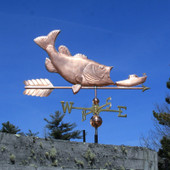 Largemouth Bass Weathervane eating ship right side view on blue sky background
