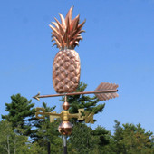 Pineapple weathervane back view on blue sky background