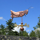 Grasshopper Weathervane right side view on blue sky background