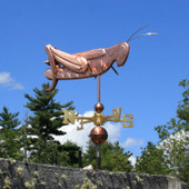 Grasshopper Weathervane right angle side view on blue sky background