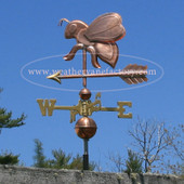 Honey Bee Weathervane left side view on blue sky background