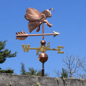 bee weathervane right side view on blue sky background