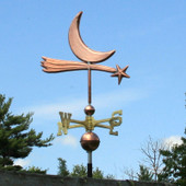 star and moon weathervane right side view on blue sky side background