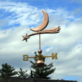 Shooting Star and Moon Weathervane back view on cloudy sky background