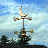 Shooting Star and Moon Weathervane forward view on cloudy sky background