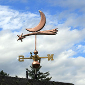 Shooting Star and Moon Weathervane left side view on cloudy sky background