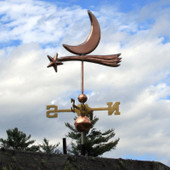 shooting star and moon weathervane left front view on cloudy sky background