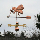 Side view of bee weathervane on a flower, handmade to order from The Weathervane Factory.