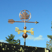 Maple Leaf Weathervane slight right side view on blue sky background