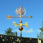 Maple Leaf Weathervane shown with slight right angle on blue sky background
