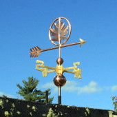Maple Leaf Weathervane, shown right front view on blue sky background