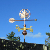 Maple Leaf Weathervane right angle view on blue sky background