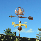 Maple Leaf Weathervane left front view on blue sky background