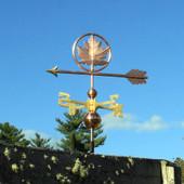 Maple Leaf Weathervane slight left side view on blue sky background