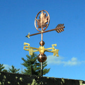 Maple Leaf Weathervane shown rear view on blue sky background