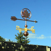Maple Leaf Weathervane right rear view on blue sky background