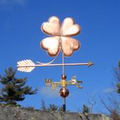 Four Leaf clover weathervane side view on blue sky background