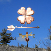 Four Leaf Clover Weathervane right side view on blue sky background