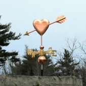 Heart with Arrow Weathervane Left Side View on Blue Sky Background