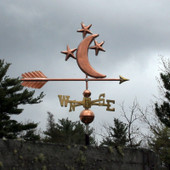 moon and stars weathervane right angle side view on stormy gray background