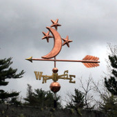 Moon and Stars Weathervane left angle side view on stormy gray background