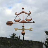 Scales of Justice Weathervane right angle side view with cloudy sky background
