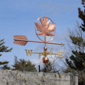 Maple Leaf Weathervane right angle side view with blue sky background