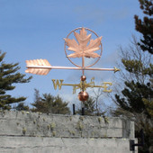 Maple Leaf Weathervane right side view with blue sky background