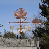 Maple Leaf Weathervane left side view with blue sky background