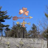 Three Leaf Clover / Shamrock Weatherane on blue sky background right side view