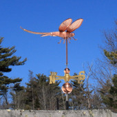 Dragonfly Weathervane right side angle view with Blue Sky Background