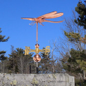 Dragonfly Weathervane left front side view with Blue Sky Background