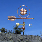 Four leaf clover Weathervane right angle side view on blue sky background.