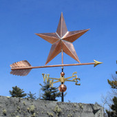 Large Copper Star Weatherane right side view on blue sky background