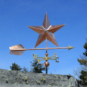 Large Copper Star Weatherane right side angle view on blue sky background
