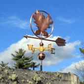 Oak Leaves and Acorn Weathervane front side vie on cloudy sky background